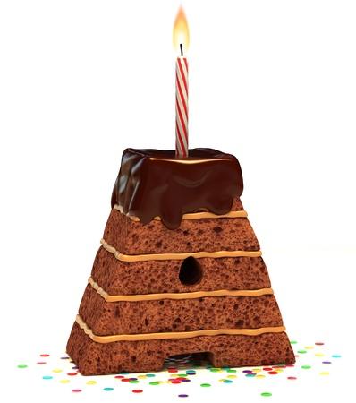 """torte compleanno: lettera """"A"""" a forma di torta di compleanno cioccolato con candela accesa e coriandoli isolato su sfondo bianco Archivio Fotografico"""