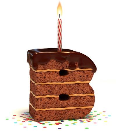 """pasteles de cumplea�os: letra """"B"""" en forma de pastel de cumplea�os de chocolate con velas encendidas y confeti aisladas sobre fondo blanco"""