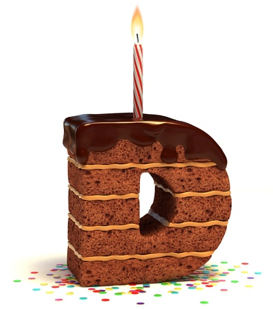 birthday food: letter D shaped chocolate birthday cake with lit candle and confetti isolated over white background