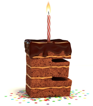 torta compleanno: E la lettera di compleanno a forma di torta al cioccolato con candela accesa e coriandoli isolato su bianco illustrazione 3d