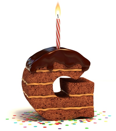 torte compleanno: la lettera G a forma di torta al cioccolato con candela accesa e coriandoli isolato su bianco illustrazione 3d
