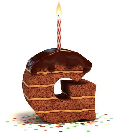 felicitaciones de cumplea�os: letra G, el chocolate en forma de pastel de cumplea�os con vela encendida y confeti aislado m�s de fondo blanco ilustraci�n 3d