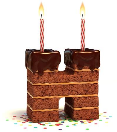 gateau anniversaire: etter g�teau en forme de H d'anniversaire au chocolat avec bougie allum�e et des confettis, isol�, sur fond illustration 3d blanc