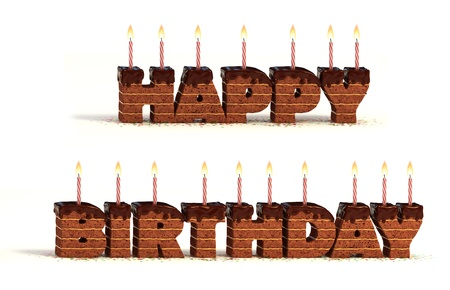 lit candles: happy birthday chocolate cake 3d illustration