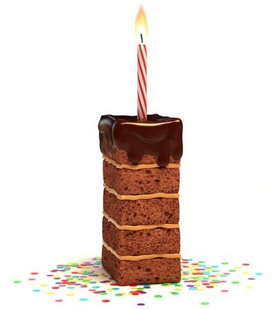 torta candeline: lettera I cioccolato a forma di torta di compleanno con candela accesa e coriandoli isolato su sfondo bianco illustrazione 3D