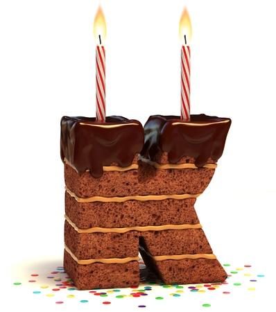 torta con candeline: lettera K al cioccolato a forma di torta di compleanno con candela accesa e coriandoli isolato su bianco illustrazione 3d Archivio Fotografico