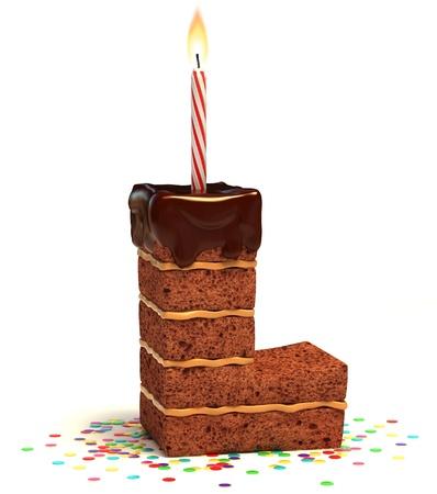 torta candeline: lettera L a forma di torta al cioccolato con la candela accesa e coriandoli isolato su bianco illustrazione 3d
