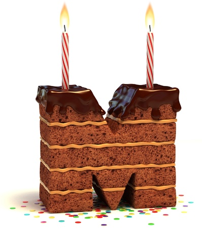 torta con candeline: lettera M a forma di cioccolato, torta di compleanno con candela accesa e coriandoli isolato su bianco illustrazione 3d Archivio Fotografico