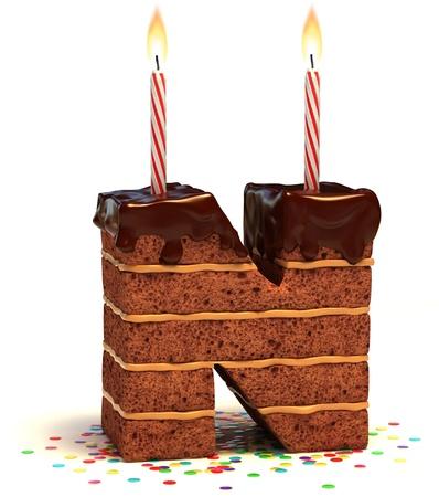 happy birthday cake: letra N en forma de pastel de chocolate de cumplea�os con vela encendida y confeti aislado en blanco ilustraci�n 3d de fondo Foto de archivo