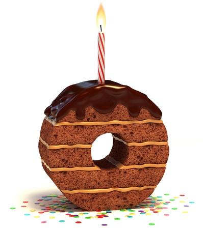 happy birthday cake: letra O de chocolate en forma de pastel de cumplea�os con vela encendida y confeti aislado en blanco ilustraci�n 3d de fondo