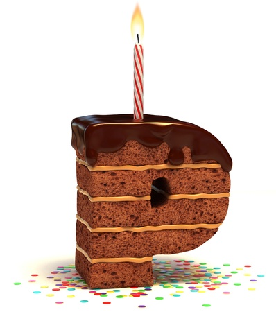 chocolate cakes: letter P shaped chocolate birthday cake with lit candle and confetti isolated over white background 3d illustration
