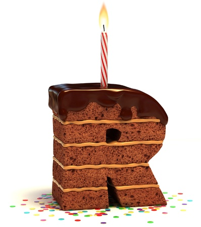 happy birthday cake: la letra R de chocolate en forma de pastel de cumplea�os con vela encendida y confeti aislado m�s de fondo blanco ilustraci�n 3d