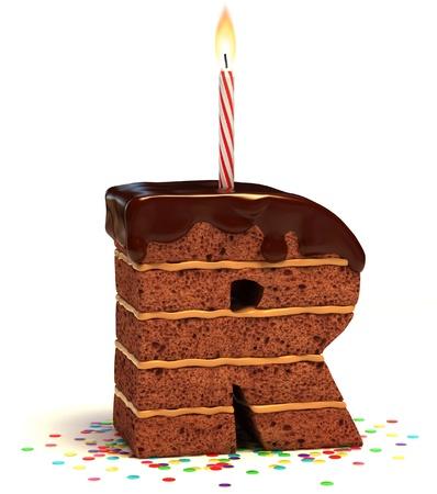 torta con candeline: lettera R di compleanno a forma di torta al cioccolato con candela accesa e coriandoli isolato su bianco illustrazione 3d
