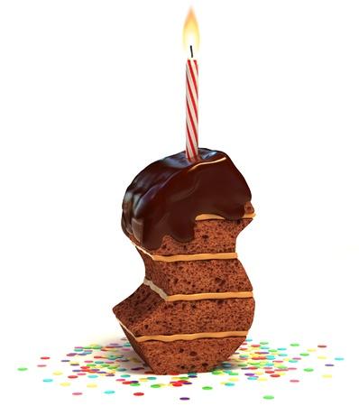torta compleanno: lettera S di compleanno a forma di torta al cioccolato con candela accesa e coriandoli isolato su bianco illustrazione 3d