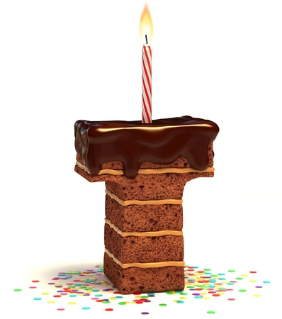 happy birthday cake: letra T, el chocolate en forma de pastel de cumplea�os con vela encendida y confeti aislado en blanco ilustraci�n 3d de fondo