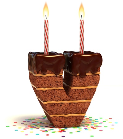 letter V shaped chocolate birthday cake with lit candle and confetti isolated over white background 3d illustration