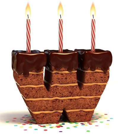 torta con candeline: lettera W a forma di torta al cioccolato con la candela accesa e coriandoli isolato su bianco illustrazione 3d Archivio Fotografico