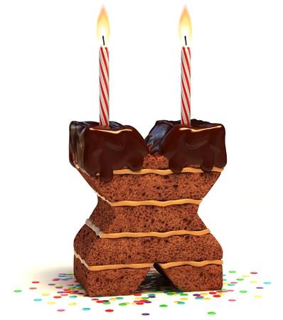 velas de cumpleaños: letra X en forma de chocolate, pastel de cumpleaños con vela encendida y confeti aislado en blanco ilustración 3d de fondo