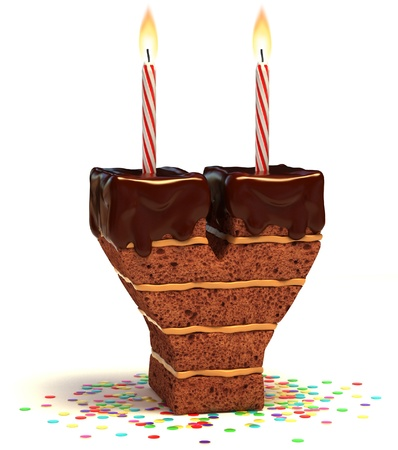 birthday food: letter Y shaped chocolate birthday cake with lit candle and confetti isolated over white background 3d illustration  Stock Photo