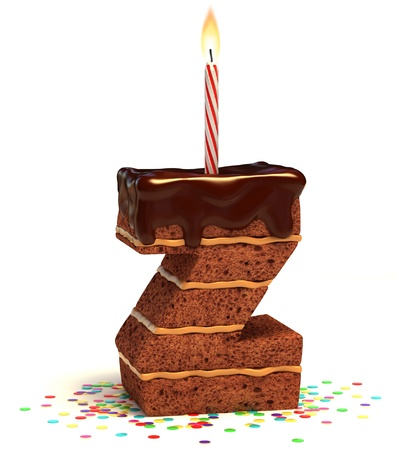 letter Z shaped chocolate birthday cake with lit candle and confetti isolated over white background 3d illustration  illustration