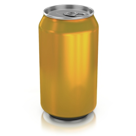 gold cans: d'oro in alluminio pu� su una illustrazione sfondo bianco 3d Archivio Fotografico