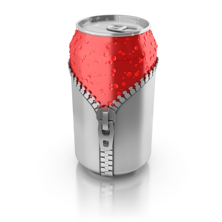 packaging design: new fresh drink 3d concept - aluminium can unzipped