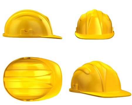 hard working people: construction helmet from different views