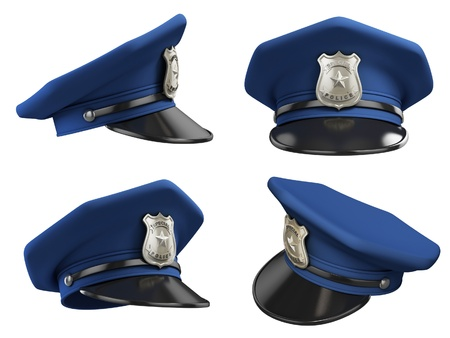 police cartoon: policeman hat from various angles 3d illustration  Stock Photo