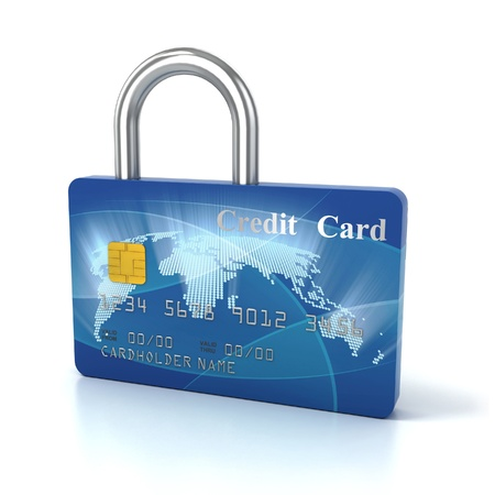 secure shopping: credit card padlock 3d concept