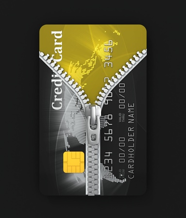 unzipped: unzipped credit card 3d concept  Stock Photo
