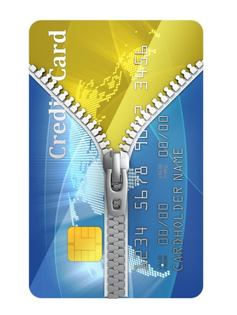 pay raise: unzipped credit card 3d concept  Stock Photo