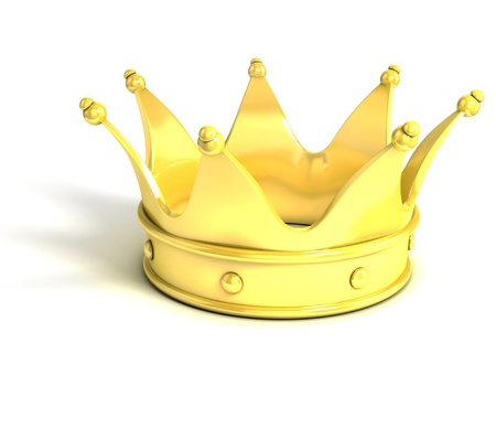 luxuriance: golden crown over white background