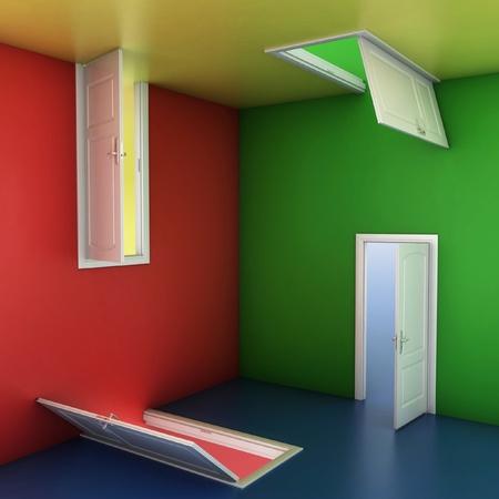 laberinto: concepto de una buena elección, ilustración 3d abstracto puertas