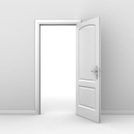 puerta abierta: puerta abierta sobre el fondo blanco Foto de archivo