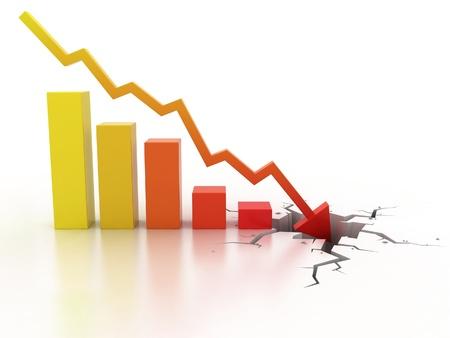 Business financial crisis concept 3d illustration  illustration