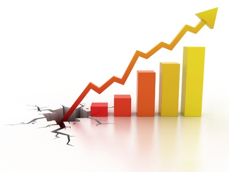 financial growth: Business financial growth concept 3d illustration