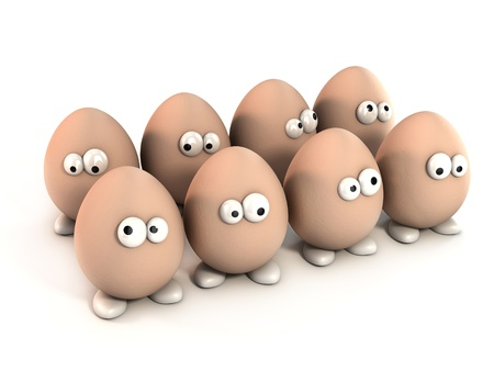 chicken and egg: pack of funny eggs as a cartoon 3d characters isolated over white