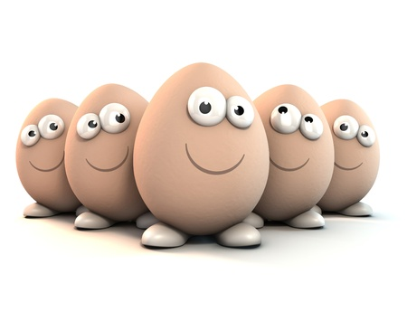 eggshells: funny eggs as a cartoon 3d characters isolated over white