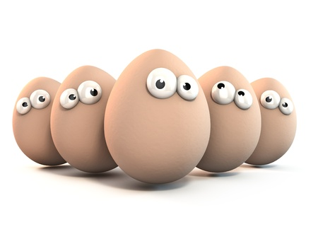 huevo caricatura: los huevos gracioso como un personajes de dibujos animados en 3D aisladas sobre blanco Foto de archivo