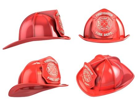 bombero de rojo: bombero, el casco de la ilustración 3d varios ángulos