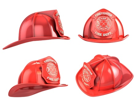 bombero de rojo: bombero, el casco de la ilustraci�n 3d varios �ngulos
