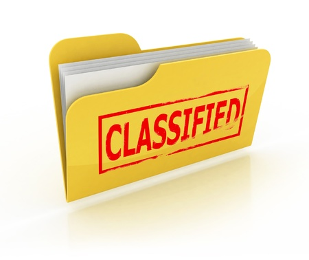 classified folder icon over the white photo