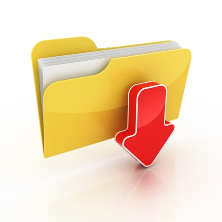 data transfer: download folder icon 3d illustration  Stock Photo