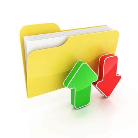 upload download folder icon 3d illustration  illustration