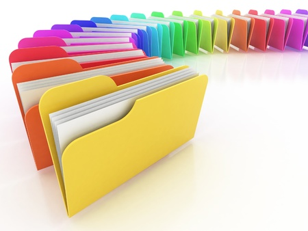 organized: many colorful folders on the white background
