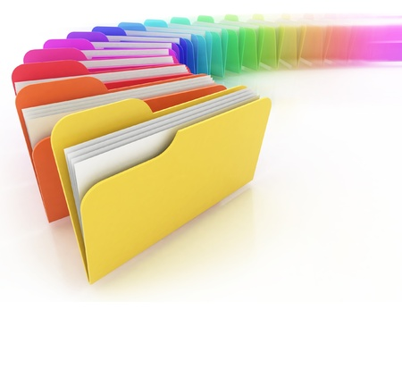 project deadline: many colorful folders on the white background