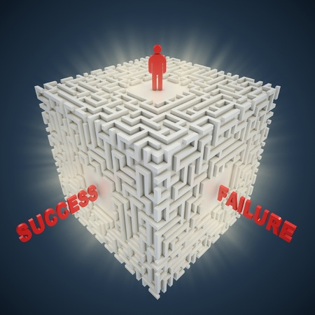 3d maze - success failure concept  photo