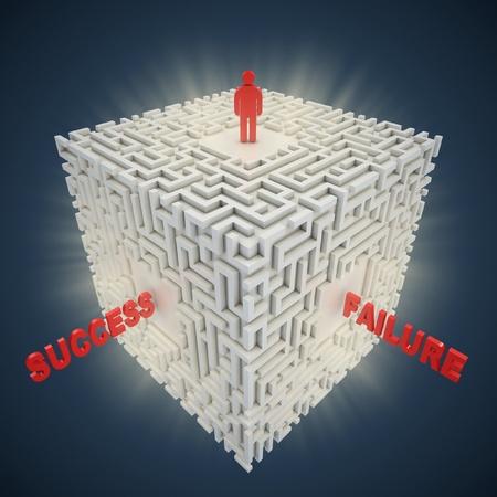 failed strategy: 3d maze - success failure concept  Stock Photo