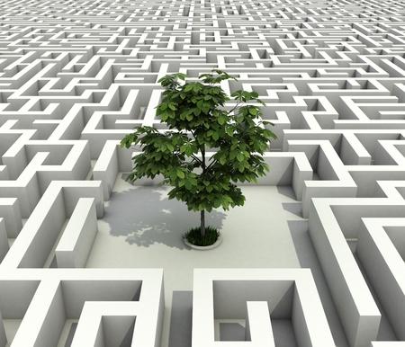 arbol de problemas: solo árbol pierde en concepto de infinito laberinto 3d-ecología