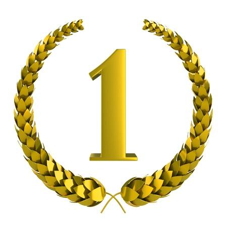 laureles: el primer premio de oro 3d de laurel sobre fondo blanco Foto de archivo